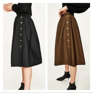 NWT Zara Reversible Black Brown Button Skirt Sz S